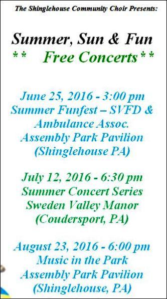 6-25 Summer, Sun & Fun Free Concerts
