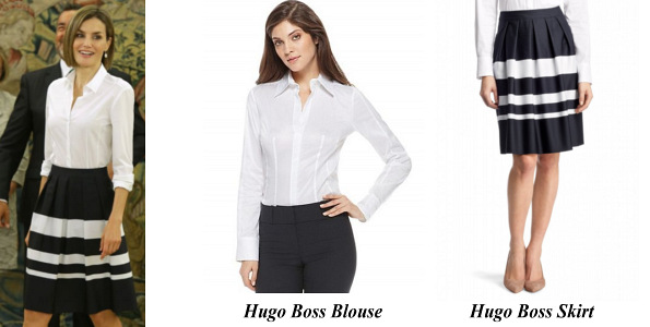 Queen Letizia' Hugo Boss Blouse And Hugo Boss Skirt