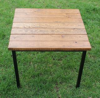 IKEA hack side table wood industrial metal