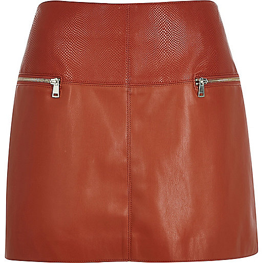tan leather mini skirt, river island leather skirt,