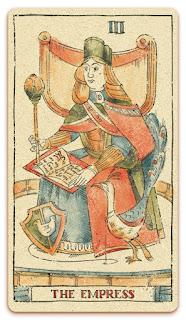 The Empress card - Colored illustration - Curio & Co Tarot of Musterberg - In the spirit of the Marseille tarot - major arcana - design and illustration by Cesare Asaro - Curio & Co. (Curio and Co. OG - www.curioandco.com)