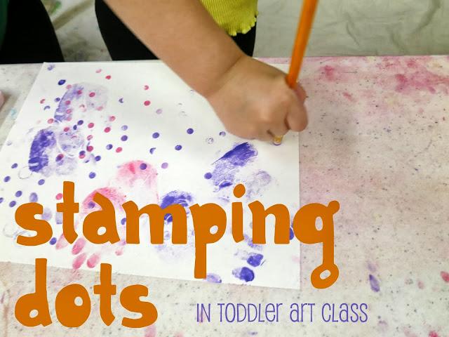 http://librarymakers.blogspot.com/2013/10/toddler-art-class-stamping-dots.html