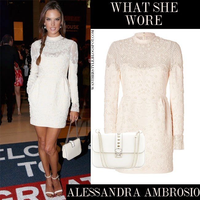74a1a2ac42 Alessandra Ambrosio in white lace long sleeve mini dress Valentino with  white bag Valentino Rockstud Want