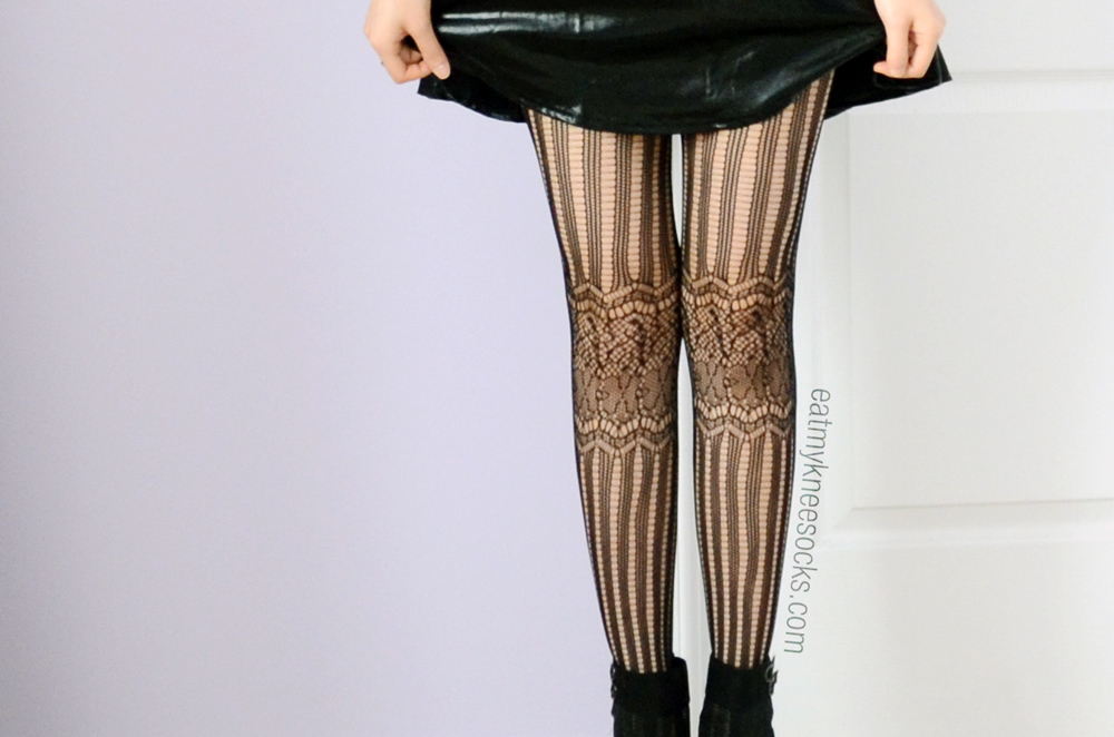 The floral lace striped tights from JollyChic.