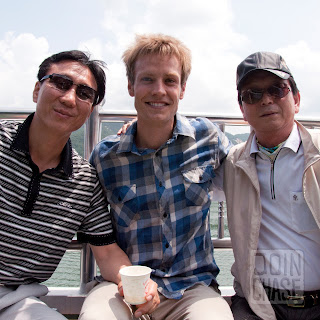 A Guest English Teacher in South Korea with his principal and vice principal on a staff field trip.