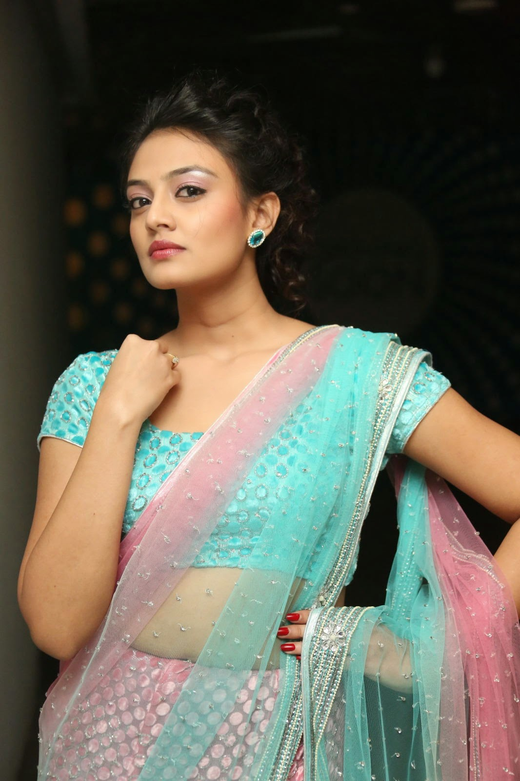 Nikitha Narayan in lvely Tansparent saree Neon Blue Blouse spicy Pics