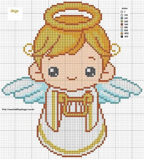 Imagenes de angelitos en punto d cruz para bautizos - Imagui