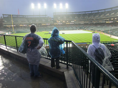 waiting for the rain to stop, tigers game, rain delay