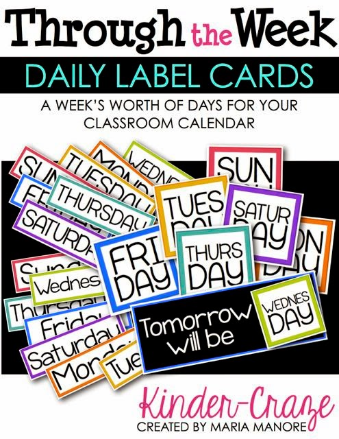 Weekly Set of Daily Label Cards for Classroom Calendar