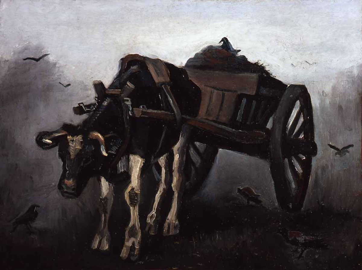 Cart with Black Ox by Vincent van Gogh