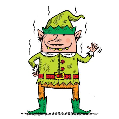 Illustration of a smelly Christmas Elf from Stinky Santa book