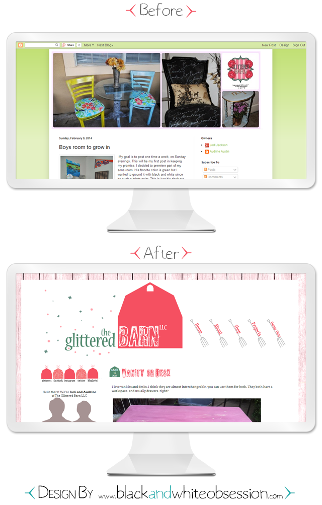 Before and After: The Glittered Barn LLC's Custom Redesign and Branding | www.blackandwhiteobsession.com