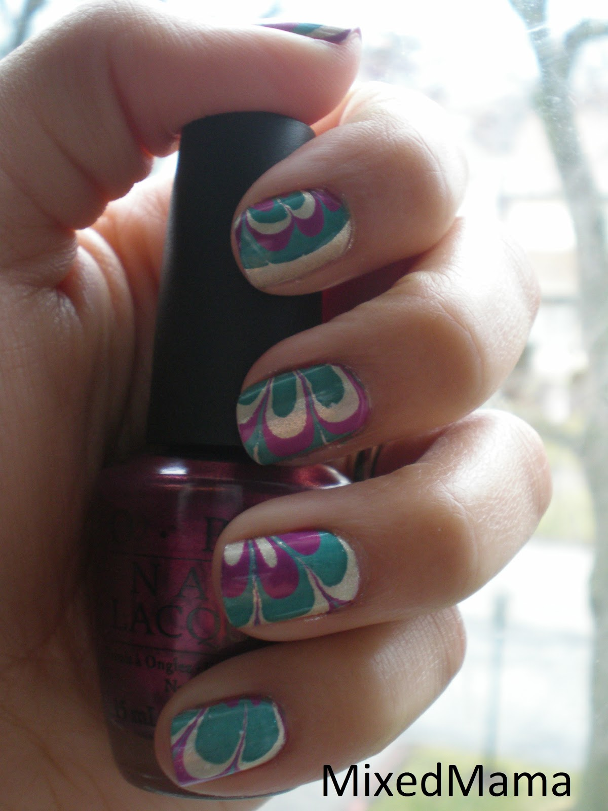 MixedMama: Water Marble Mardi Gras Nails