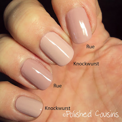 zoya rue, opi my very first knockwurst, swatch, comparison