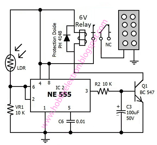 Hobby in Electronics: Automatic Dark Activated LED Light Circuit ...
