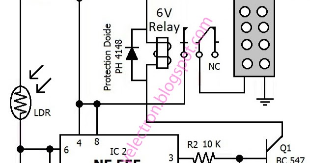 hobby in electronics  automatic dark activated led light circuit diagram using 555 timer