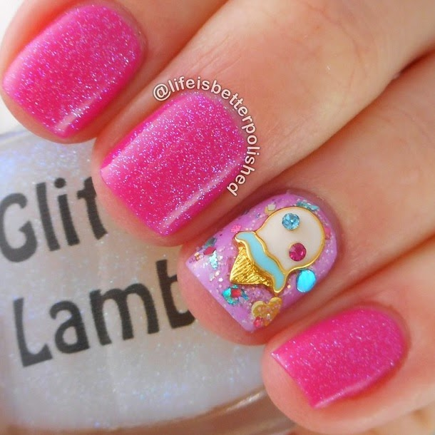Ice Cream Nail Charm- Pink Nail Pictures