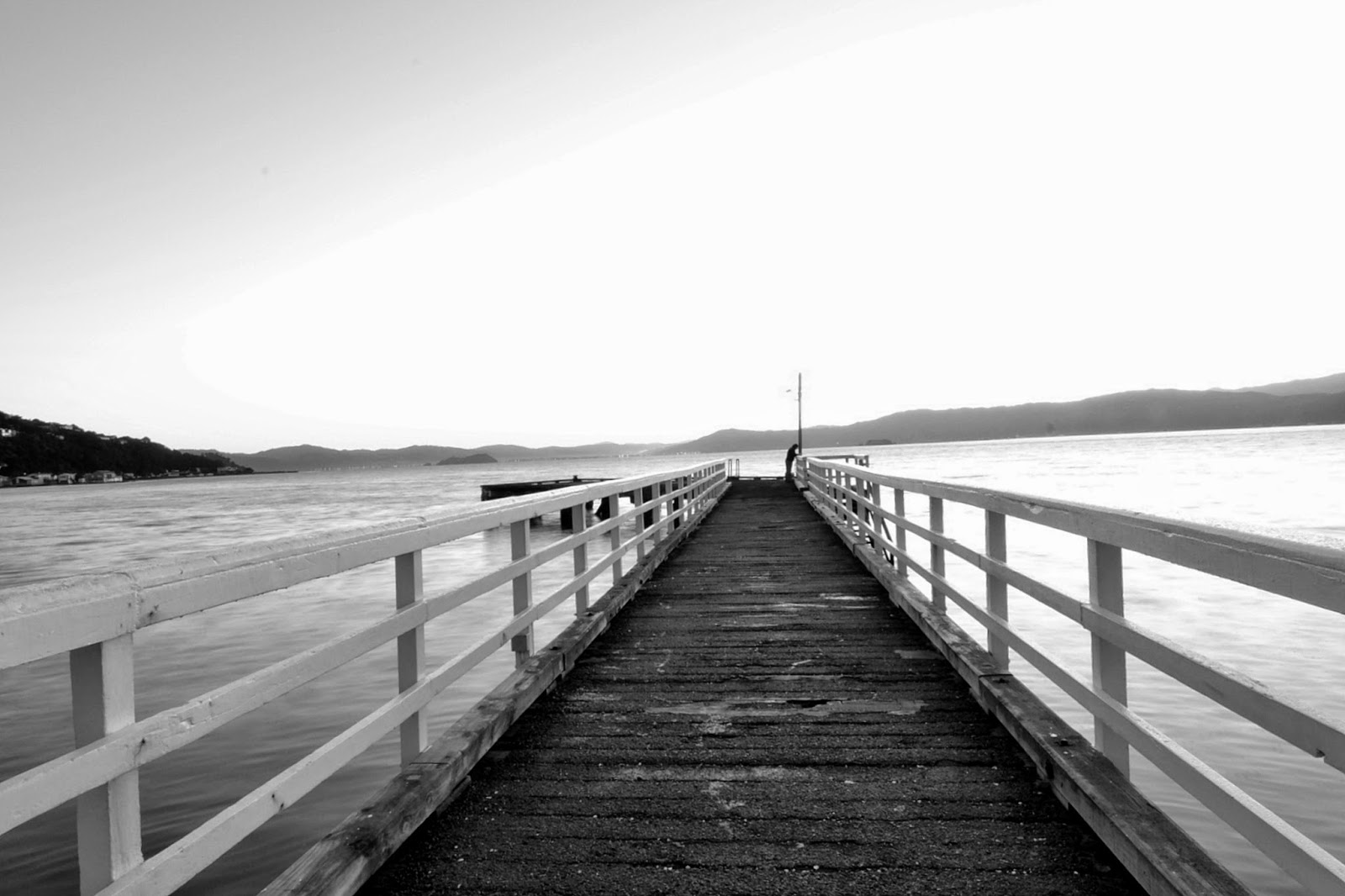 Black and white Seatoun Pier