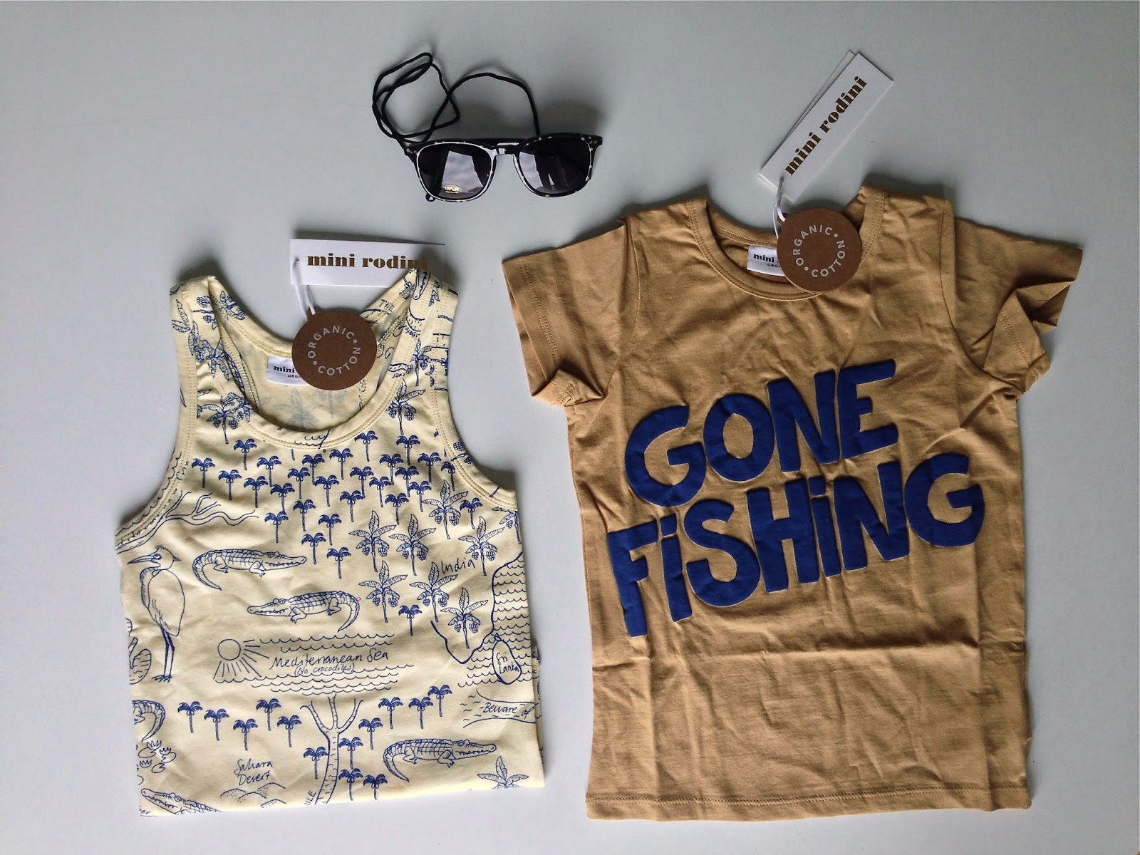 Mini Rodini ss15, gone fishing tee, croco map tank, spot sunglasses