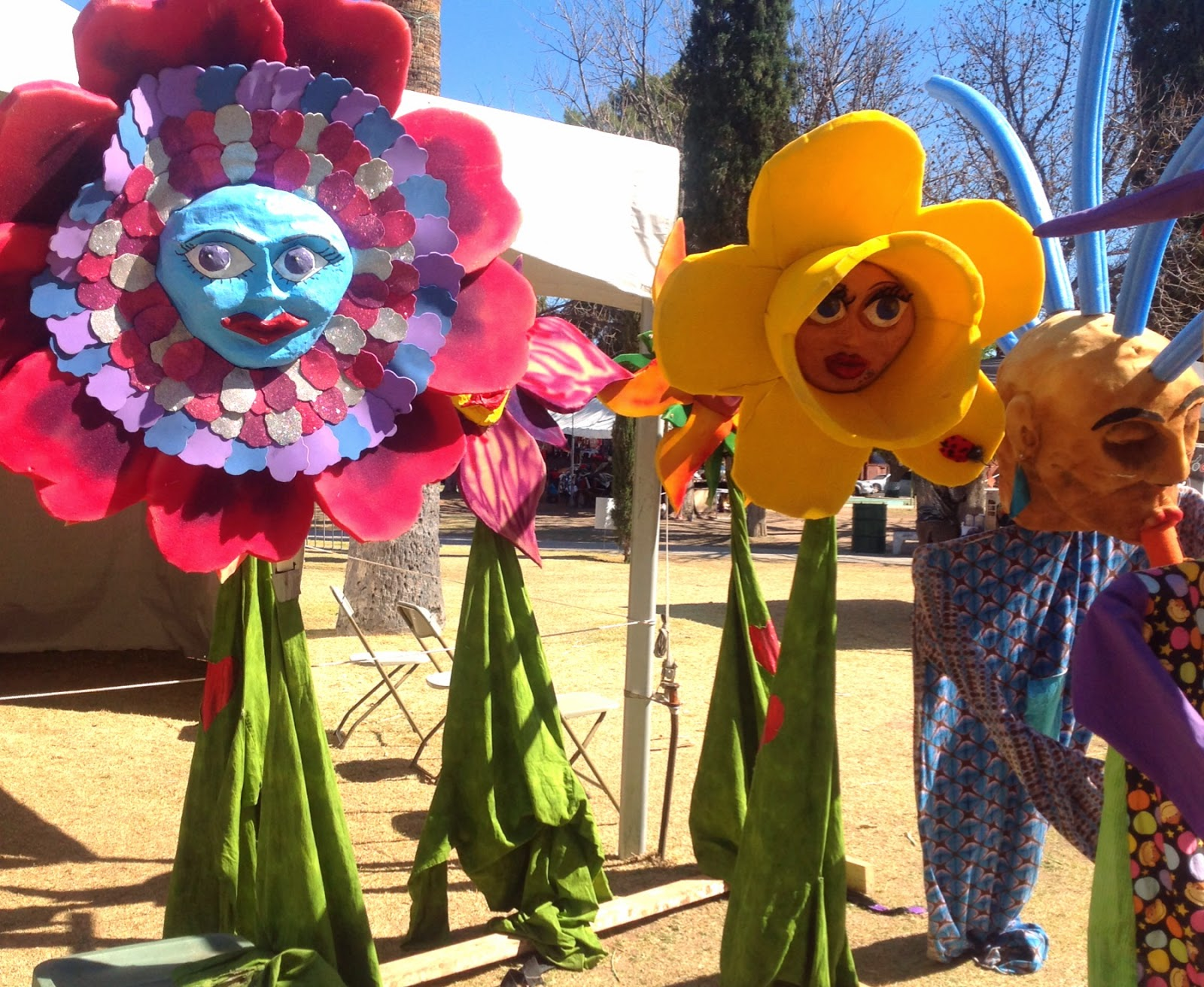 large flower puppets