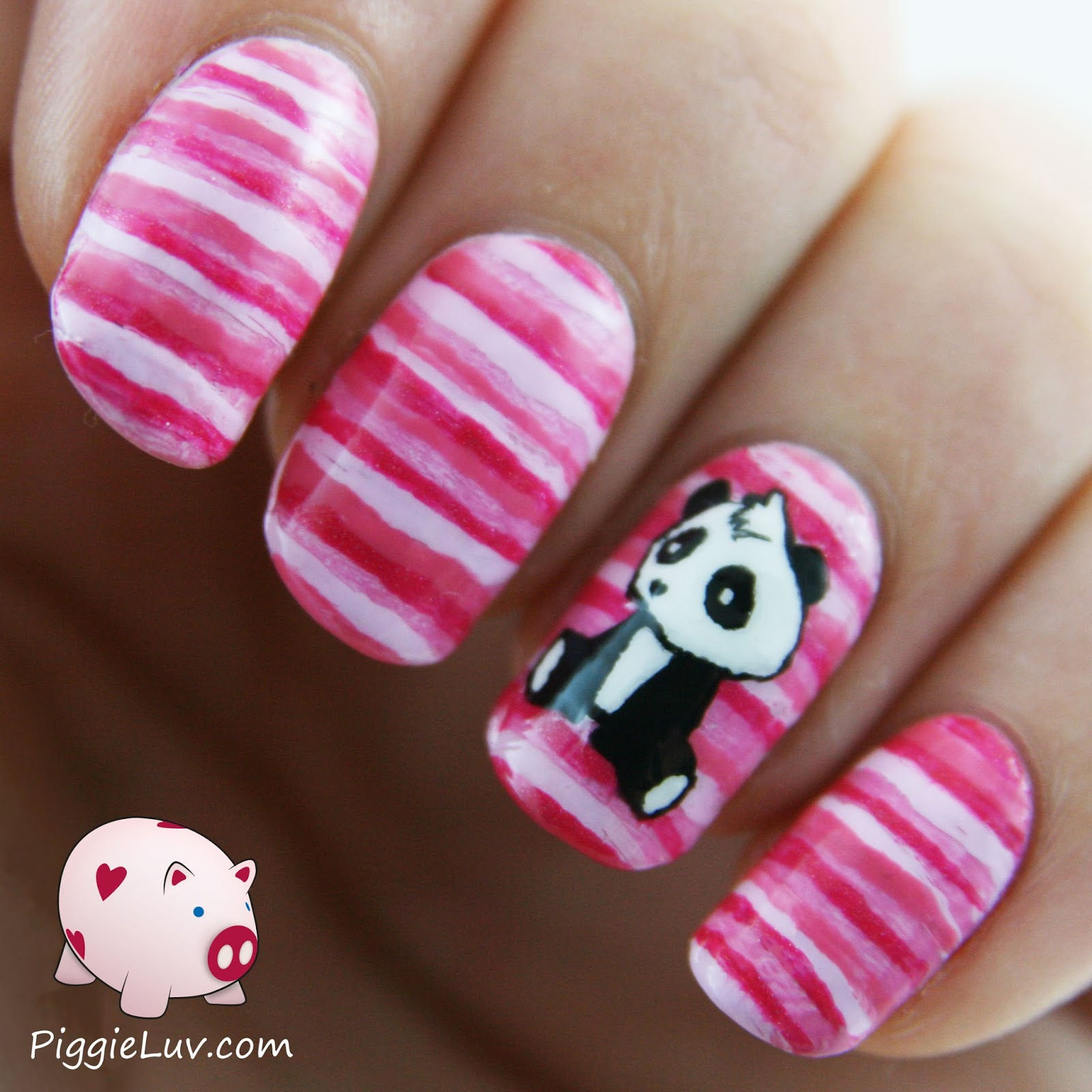 Piggieluv sad panda nail art i have a cute little hand painted panda guy for you today the background was a fail turned into something else and then the panda just fit perfectly prinsesfo Images