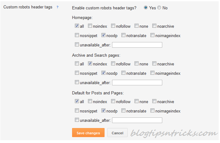 New Blogger SEO Search Preference Custom Robots Header Meta Tags