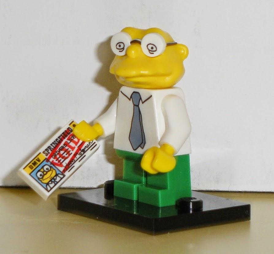 Lego New White Tile 1 x 2 Simpsons Hans Moleman SPRINGFIELD DRIVERS LICENSE Void