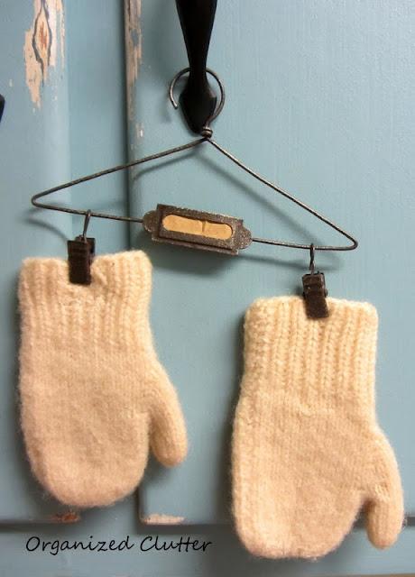 Mittens and Hanger www.organizedclutterqueen.blogspot.com