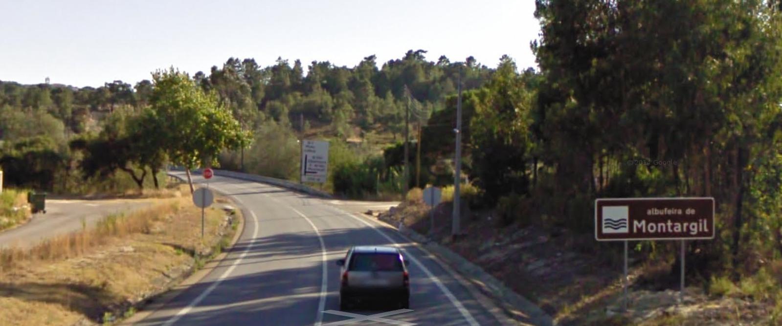 Placa indicatória Barragem Montargil