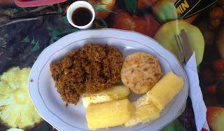 Carne molida con sazón de oriente medio, desayuno en Fonseca. Foto: Jorge Bela