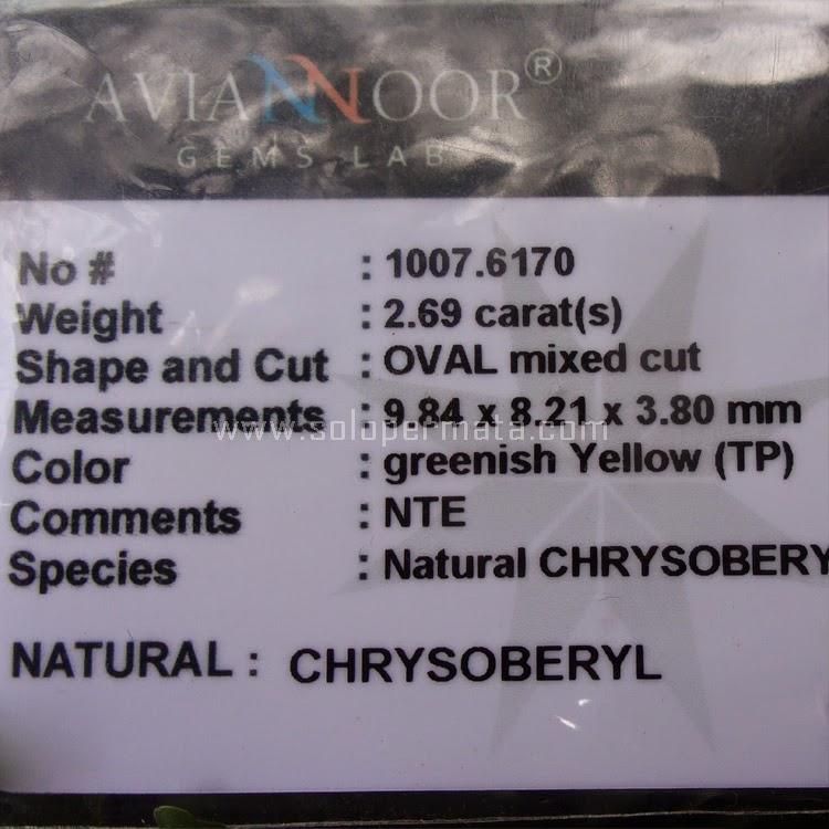 Cincin Batu Permata Chrysoberyl - SP537 + Memo