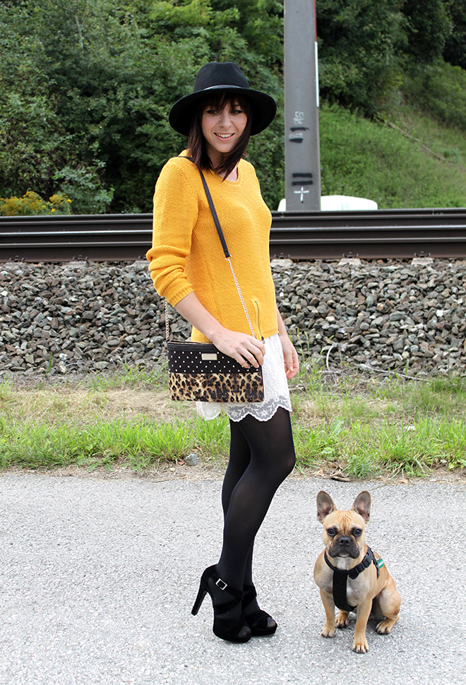 outfit trend fashionblogger senfgelb takko hm spitze highheels mango clutch leopard 05