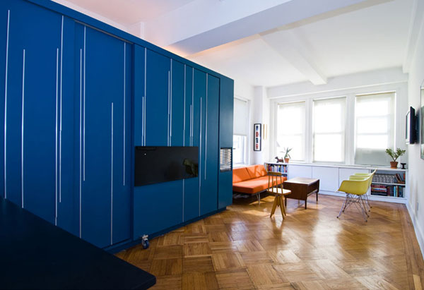 clever designs for small spaces, unfolding apartment, origami apartment, murphy bed, modern design, custom interiors
