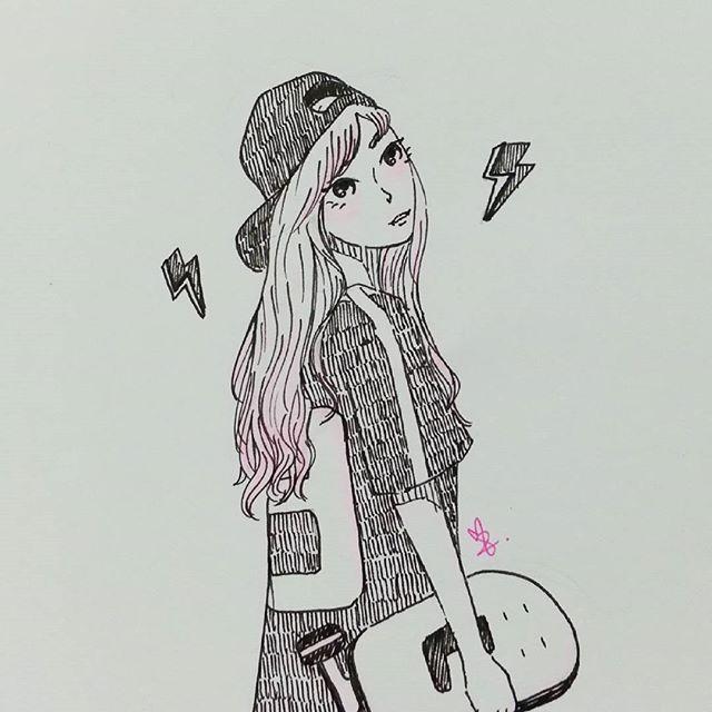inktober 2015 skater girl