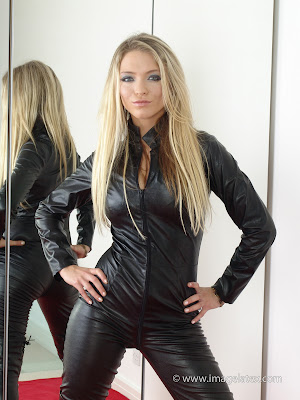 Hot Blonde Nadia Looking Sexy in Tight Black Leather Catsuit
