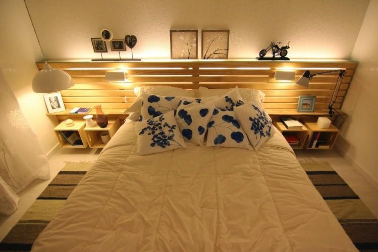 Dormitorio de matrimonio decorado con - Dormitorios con palets ...