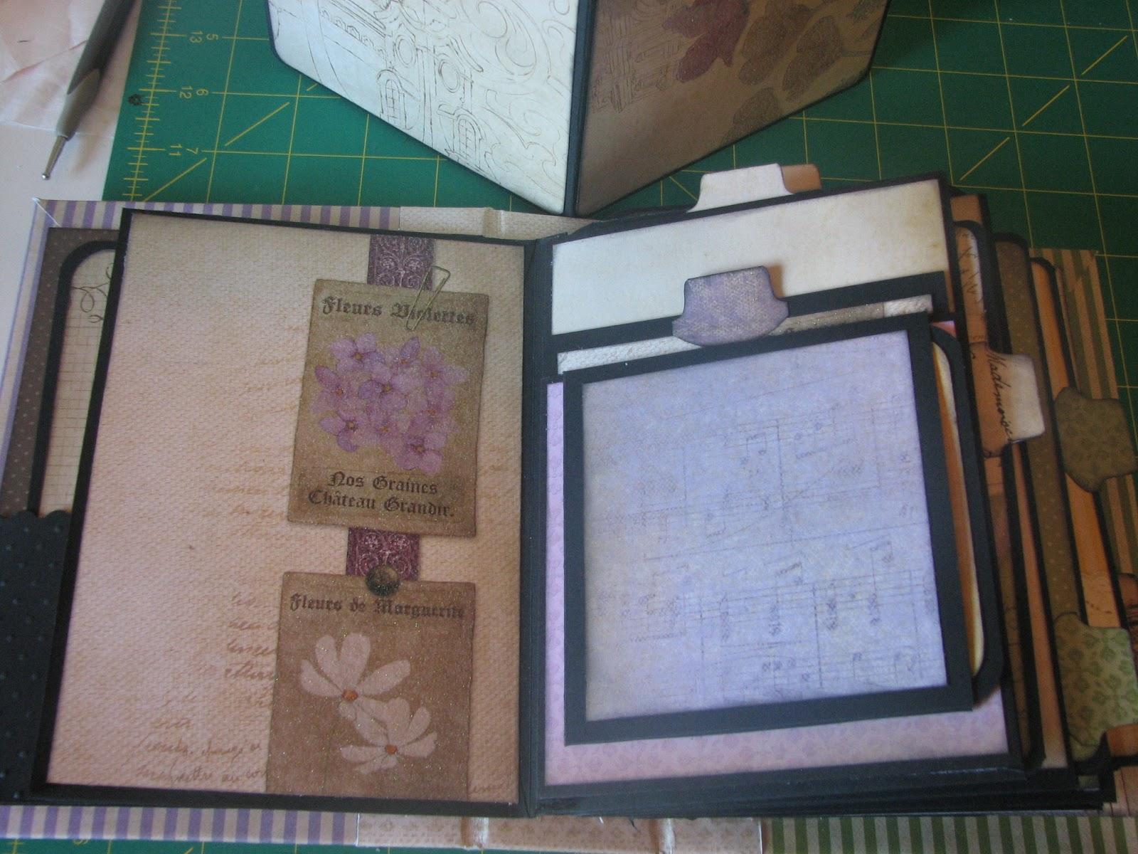 Garden of CreativityEnvelope mini album with a chipboard spine