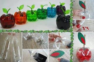 Como Hacer Manzanas con Botellas de Plastico, Manualidades Faciles