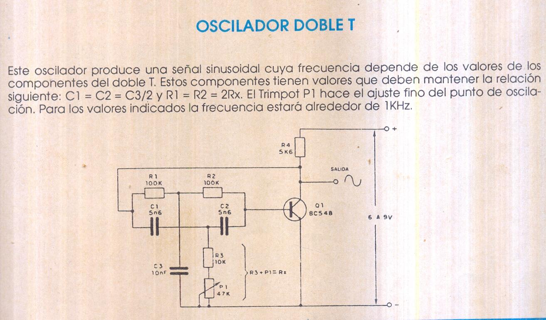Circuito Oscilador : Fichas de circuitos electrónicos oscilador doble t