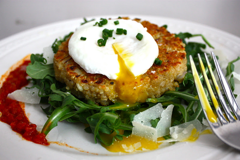 Quinoa Cakes with Poached Eggs - Get Off Your Tush and Cook!