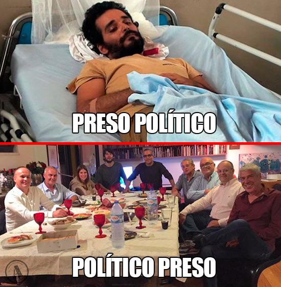 Imagens de Luaty Beirão José Sócrates - Preso Político vs Político Preso