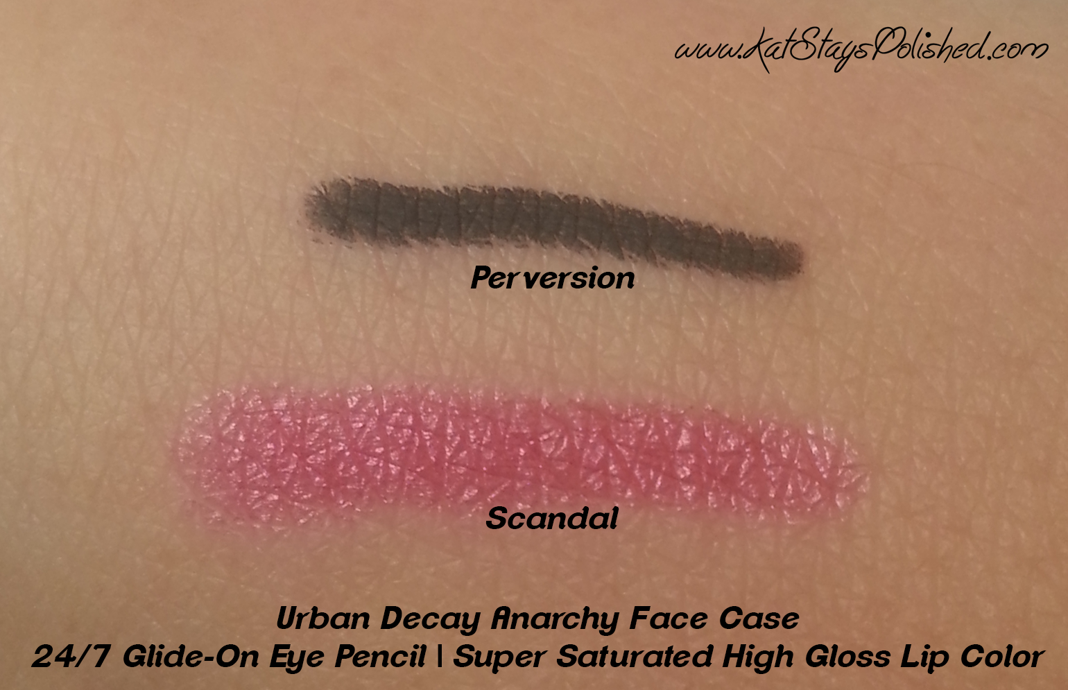 Urban Decay Anarchy Face Case - Eyeliner and Lip Swatches