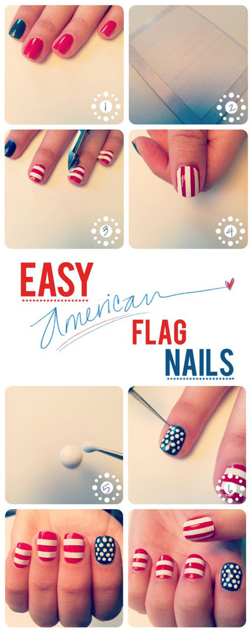 Girls Things American And England Flag Nails Art