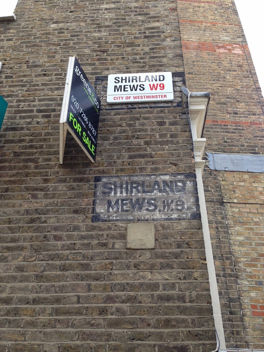 Ghost sign, Shirland Mews, London