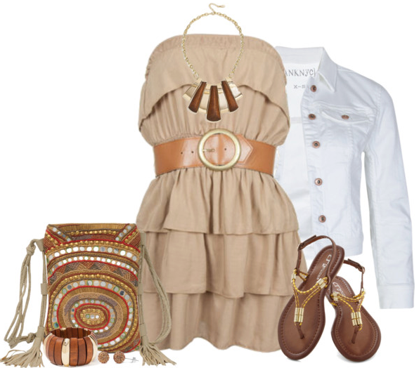 White dress shirt, blouse, sandals, hand bag and bracelet for ladies
