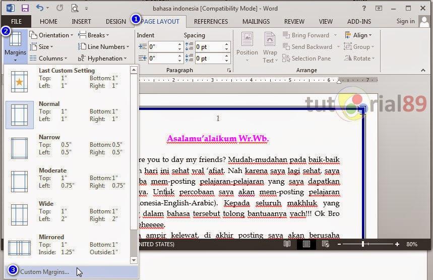 Cara mudah setting layout untuk susunan buku di word