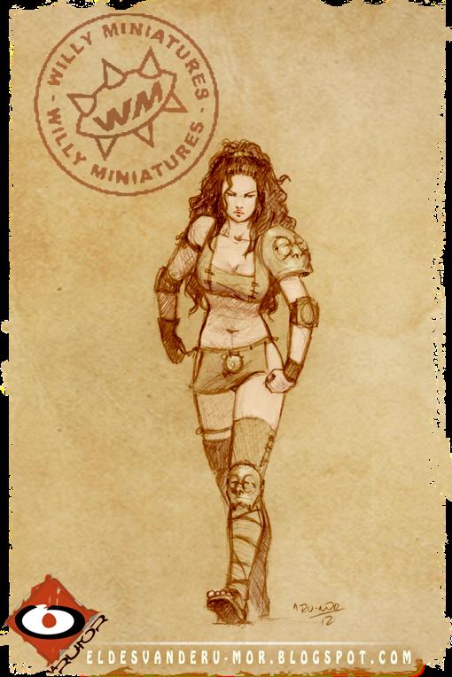 cocept art de miniatura hecha por ªRU-MOR para Amazon Team for Willy miniatures. Warhammer Blood Bowl Fantasy
