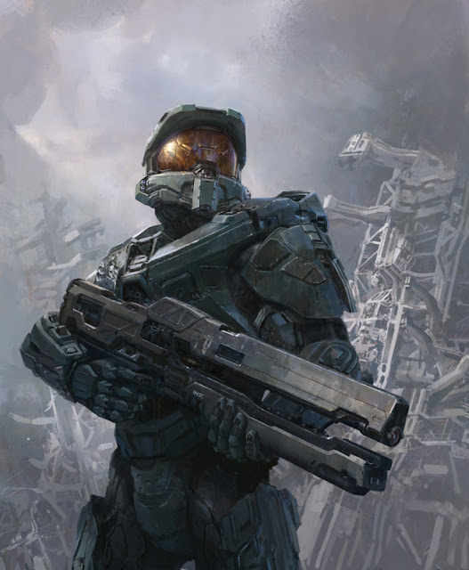 Master Cheif with the rail gun from  halo 4