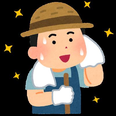 汗を拭く農家の男性のイラスト