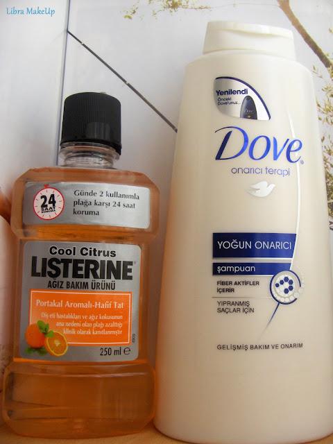 listerine portakal aromalı ağız bakım suyu, dove yoğun onarıcı şampuan